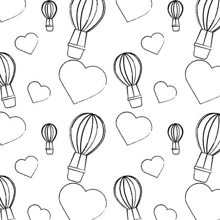 뜨거운 공기 풍선 심장 발렌타인 패턴 벡터 일러스트 레이 션 디자인.