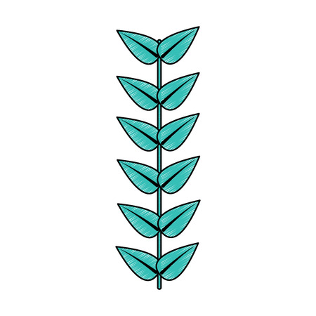 leaves with stem icon image vector illustration design  Ilustrace