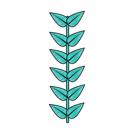 leaves with stem icon image vector illustration design  向量圖像