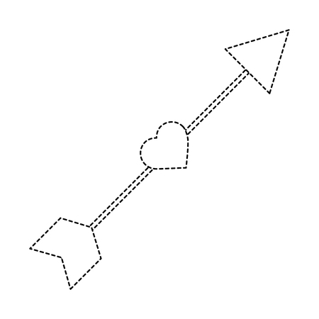 Arrow love heart cupid romance image vector illustration sticker design Illustration