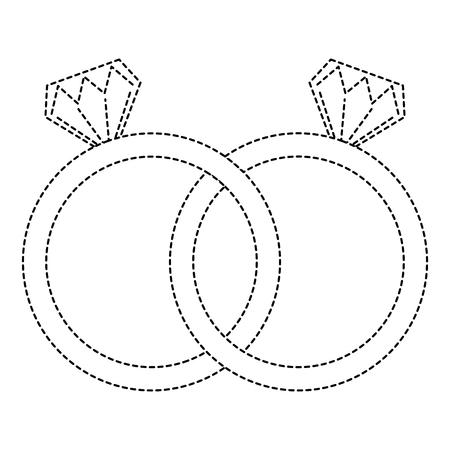 wedding rings jewelry diamonds unity vector illustration sticker design Illustration