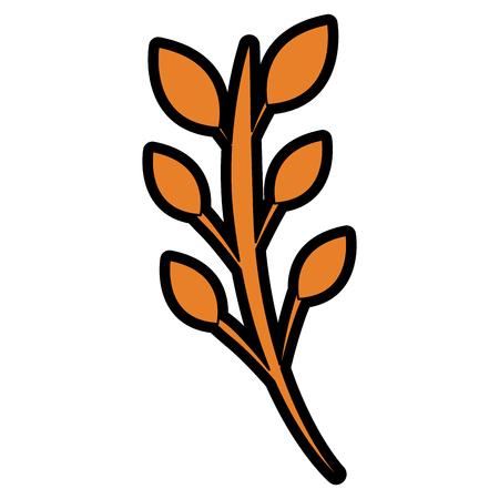 Um ramo deixa a ilustração de vetor de imagem de flor de haste Ilustración de vector