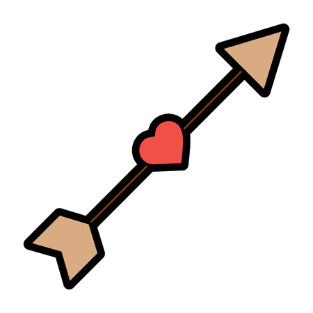 arrow love heart cupid romance image vector illustration