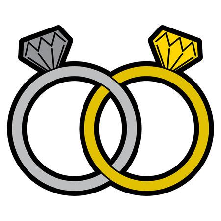 Illustrazione di vettore di unità dei diamanti dei gioielli delle fedi nuziali Archivio Fotografico - 93432708