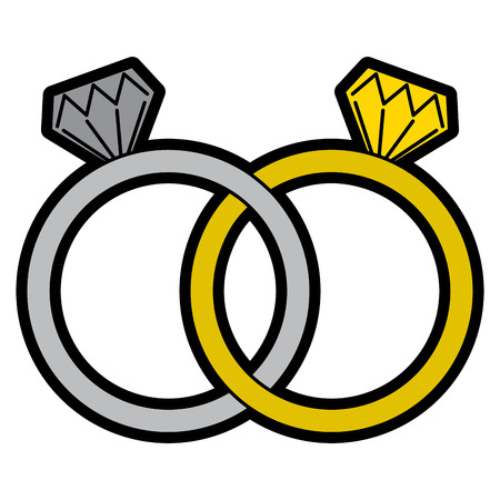 wedding rings jewelry diamonds unity vector illustration