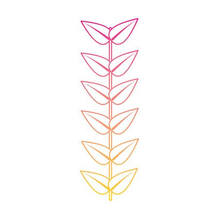 branch leaves stem bloom image vector illustration   line color