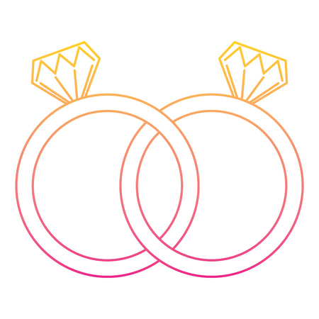 Wedding rings jewelry diamonds unity. Vector illustration line color.