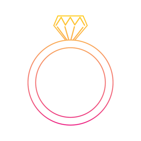 Wedding ring icon diamond ring jewelry. Vector illustration line color.
