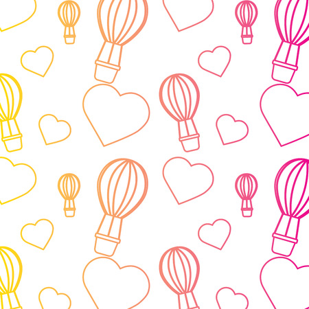 air ballon love heart valentines day pattern vector illustration line color