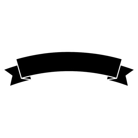 Obraz ikony transparent wstążka. Projekt ilustracji wektorowych czarno-biały.
