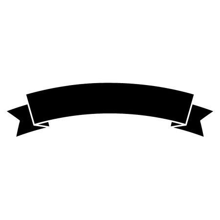 Ribbon banner icon image. Vector illustration design black and white.