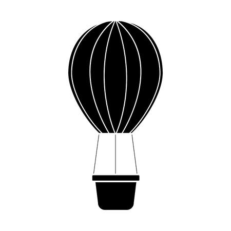 熱気球アイコン画像。●ベクトルイラストデザインは白黒。  イラスト・ベクター素材