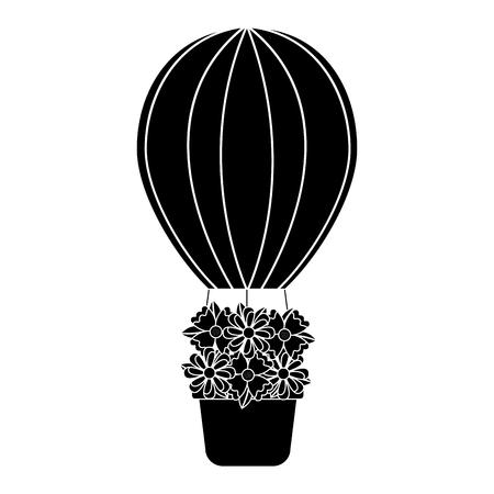 花のアイコン画像と熱気球。●ベクトルイラストデザインは白黒。  イラスト・ベクター素材
