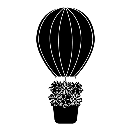 Hot air balloon with flowers icon image. Vector illustration design black and white.
