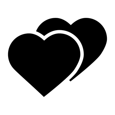 Two hearts cartoon icon image. Vector illustration design black and white.