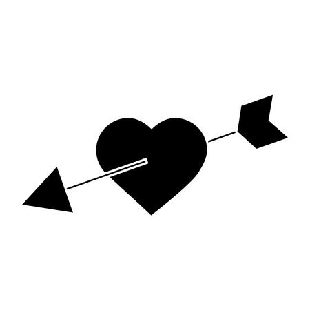 Heart and arrow valentines day icon image. Vector illustration design black and white. Illusztráció