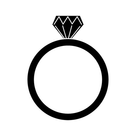 Diamond engagement ring icon image. Vector illustration design black and white. Illustration