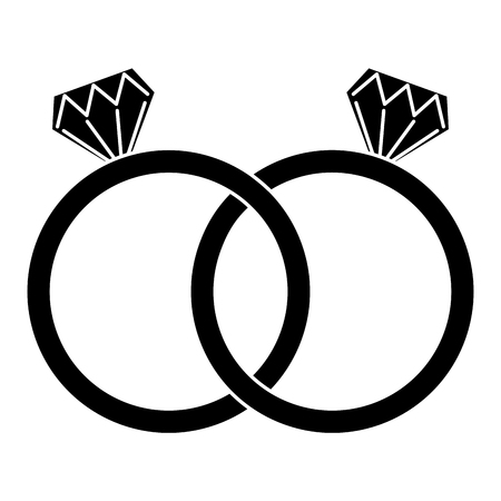 Diamond engagement rings icon image. Vector illustration design black and white.