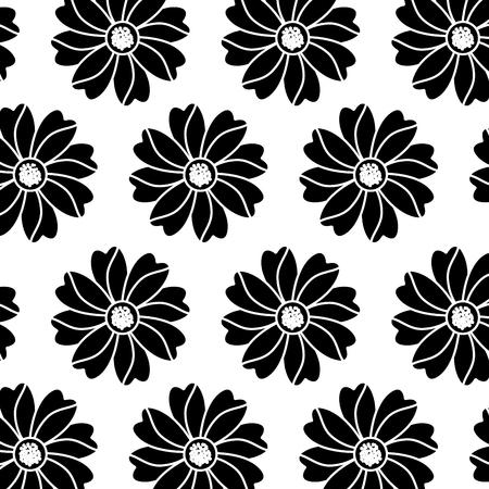 Flower floral pattern image. Vector illustration design black and white.