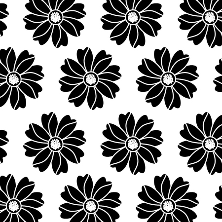 Flower floral pattern image. Vector illustration design black and white.