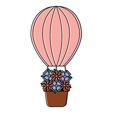 뜨거운 공기 풍선 꽃 아이콘 이미지 벡터 일러스트 디자인 스톡 콘텐츠 - 93474803