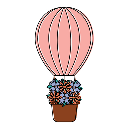 hot air balloon with flowers  icon image vector illustration design