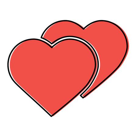 Zwei Herzen Cartoon Symbol Bild . Vektor-Illustration Design