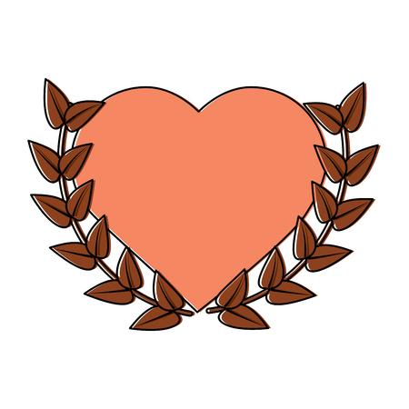 hart cartoon embleem met lauwerkrans Valentijnsdag pictogram afbeelding vector illustratie ontwerp