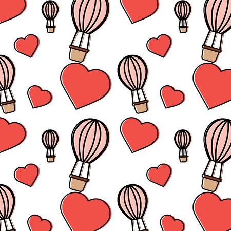 Hot air balloon heart Valentines day pattern image vector illustration design.