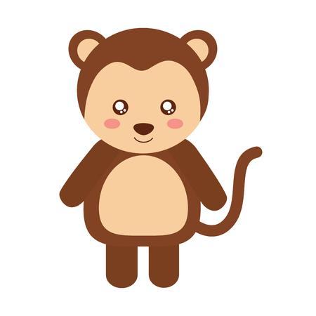 원숭이 귀여운 동물 아이콘 이미지 벡터 일러스트 레이 션 디자인