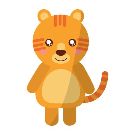 A cute animal tiger standing cartoon wildlife vector illustration