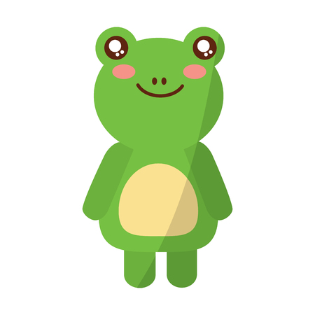 A cute animal frog standing cartoon wildlife vector illustration