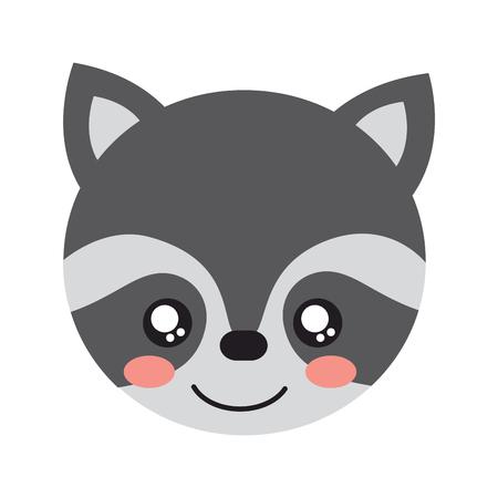 A cute raccoon animal head image vector illustration