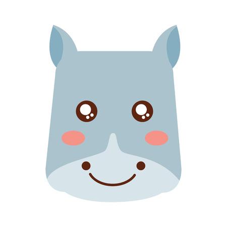 A cute animal hippo head image vector illustration
