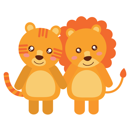 A cute animals lion and tiger babies vector illustration