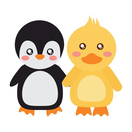かわいい動物ペンギンとアヒルの手を保持ベクトルイラスト