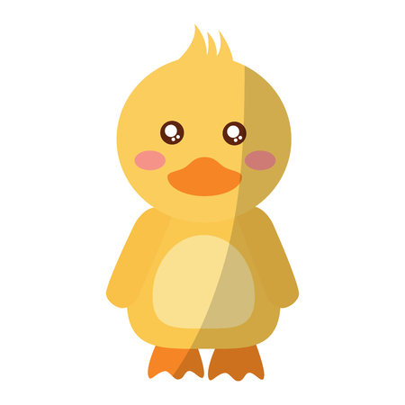 A cute animal duck standing cartoon wildlife vector illustration