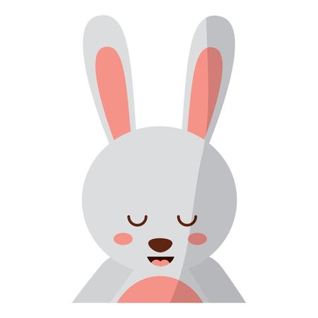 닫기 초상화와 함께 귀여운 초상화 토끼 동물 아기 벡터 일러스트 레이션