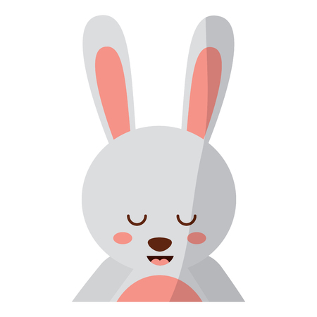 A cute portrait rabbit animal baby with close eyes vector illustration Illustration