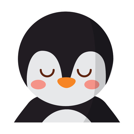 A cute portrait penguin animal baby with close eyes vector illustration