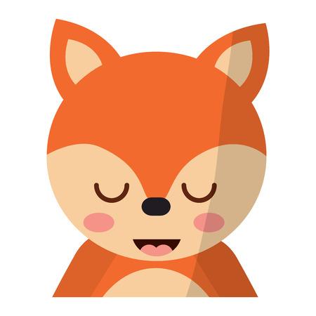 目を閉じたベクトルイラストを持つかわいいポートレートキツネ動物の赤ちゃん  イラスト・ベクター素材