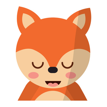 A cute portrait fox animal baby with close eyes vector illustration