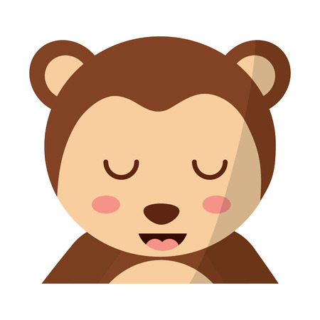 A cute portrait monkey animal baby with close eyes vector illustration