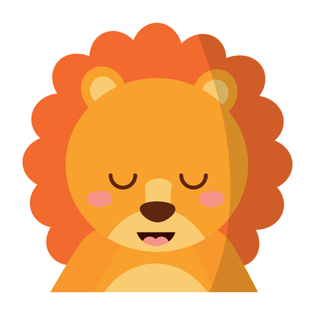 A cute portrait lion animal baby with close eyes vector illustration Illustration