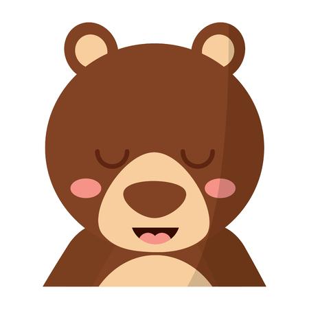 目を閉じたベクトルイラストを持つかわいいポートレートクマ動物の赤ちゃん  イラスト・ベクター素材