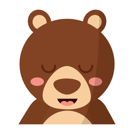 A cute portrait bear animal baby with close eyes vector illustration