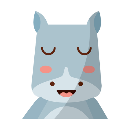 A cute portrait hippo animal baby with close eyes vector illustration Ilustrace