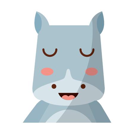 Een schattige dierlijke baby van portrethippo met dichte ogen vectorillustratie Stock Illustratie