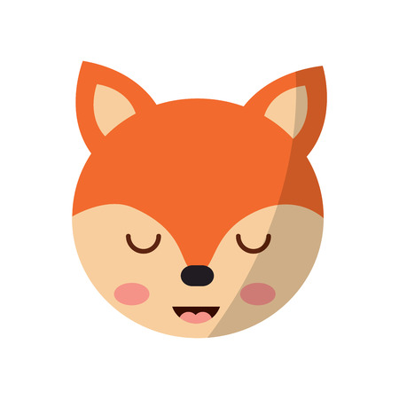 A cute fox head animal close eyes cartoon vector illustration