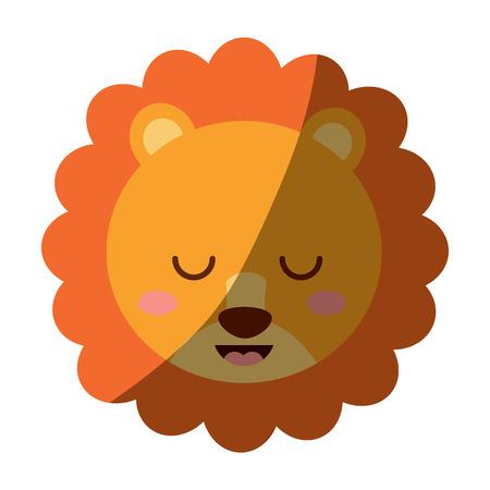 かわいい頭ライオン動物閉じ目漫画ベクトルイラスト  イラスト・ベクター素材